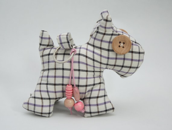 Hand Stitched West Highland Terrier (Westie) Dog Cotton Check Vintage Fabric Keyring / Bag Charm