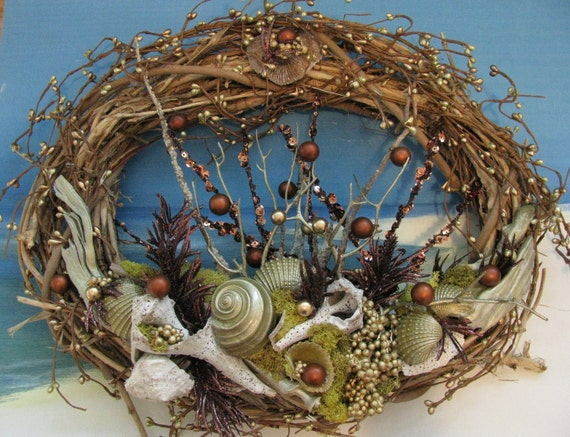 Seashell Amp Driftwood Grapevine Wreath Gold 18 Inches Coastal