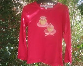 Cherry red winter top in size 2 with vintage cupcakes sizes 1 to 6 available