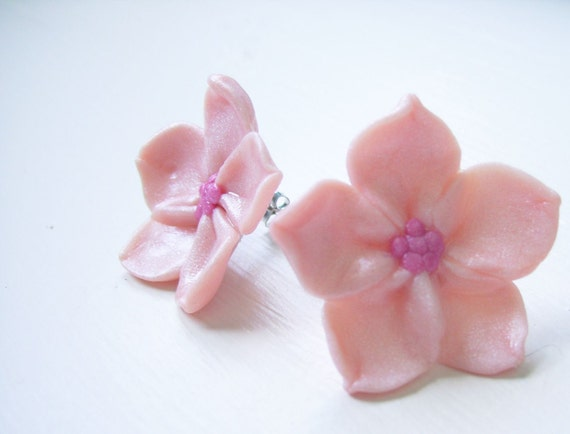 Sakura Cherry Blossom Earrings - Hand Sculpted Polymer Clay on Surgical Steel Posts 1""