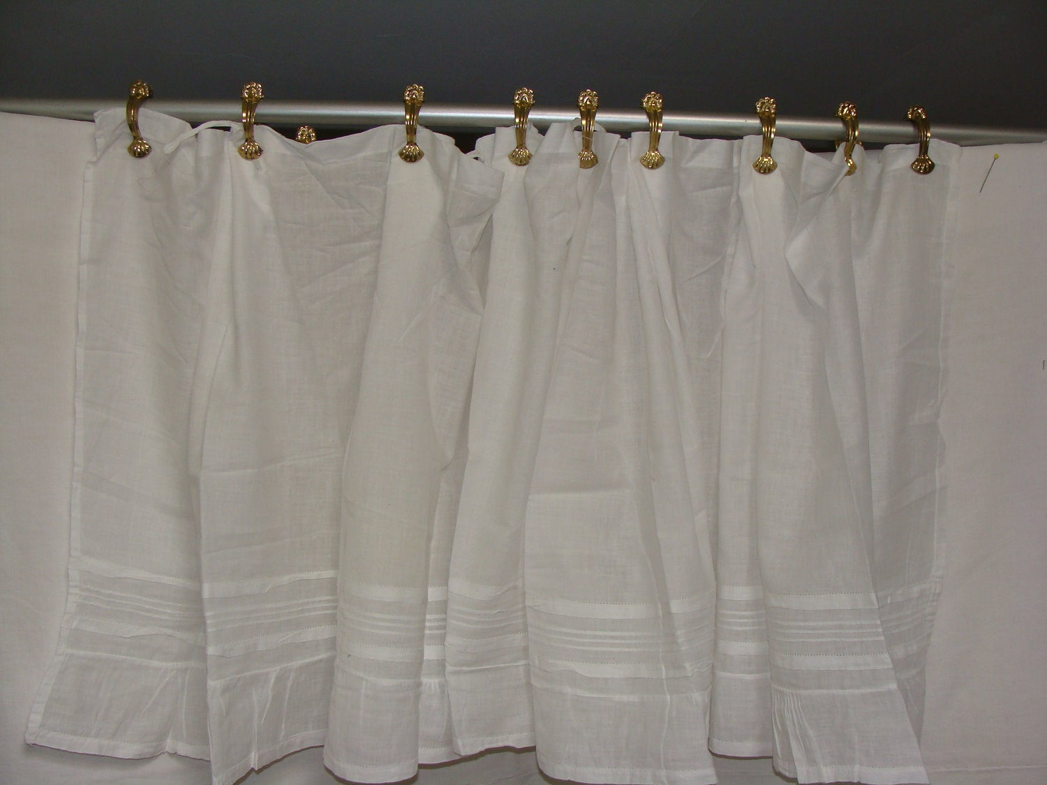 Antique French Cafe Curtain White Pleated Detail Voile With