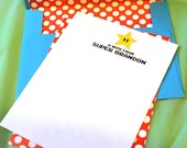 Starman Stationery Note - 6 Personalized notes with envelopes - polka dot backside and lined envelope