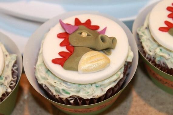 "Fondant Dragon Cupcake Toppers, One Dozen, 2"" Round Edible Cupcake Decoration"