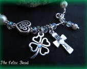 Celtic Irish Pearl & Crystal Communion Heart and Shamrock Rosary Bracelet