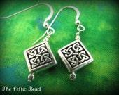 Irish Celtic Diamond Silver Knot Earrings on Sterling Silver Earwire