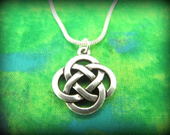 Celtic Irish Silver Round Knot Necklace on Silver Snake Chain