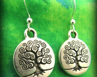 Silver Celtic Irish Tree of LIfe Earrings - Sterling Silver Ear Wire