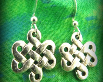 Lovely Silver Celtic Irish Knot Earrings on Sterling Silver Wire