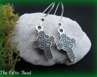 Celtic Irish Cross Earrings on Sterling Silver Ear Wire