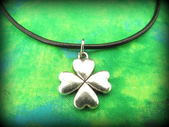 Beautiful Silver Celtic Irish Shamrock Pendant Necklace on Black Leather Cording