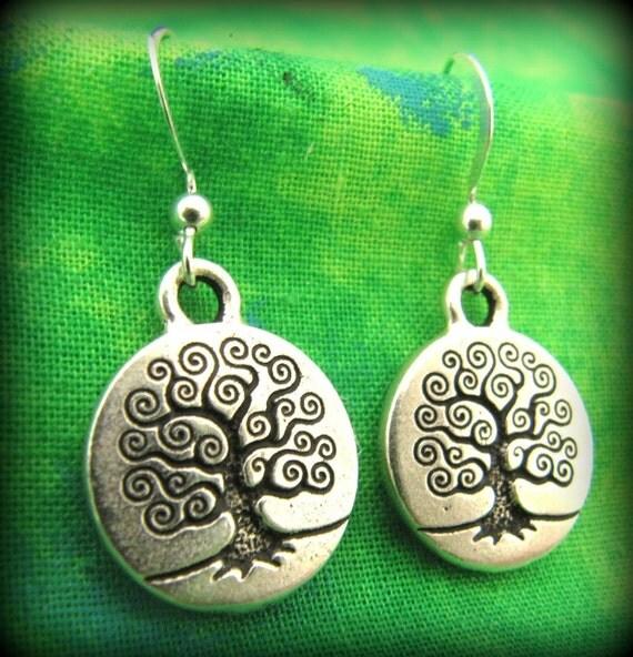 Silver Celtic Irish Tree of LIfe Earrings - Sterling Silver Ear Wire