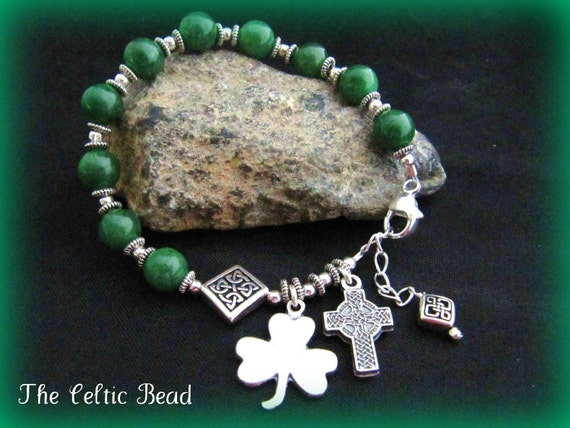 Custom Listing ONLY for Pat - Irish Celtic Kelly Green Jade Gemstone and Silver Catholic Rosary Bracelet