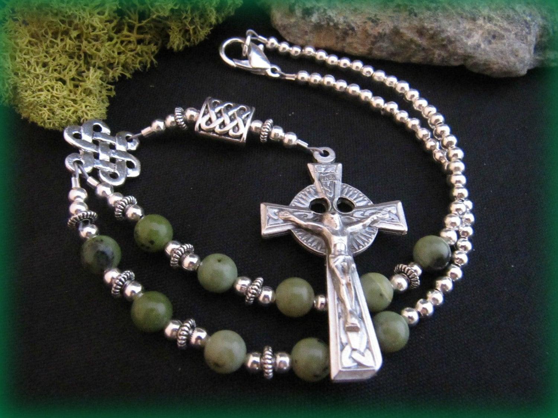 Celtic Irish Auto Rosary With Connemara Marble Color Gemstones
