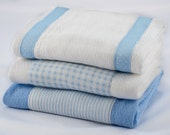 Baby Burp Cloths - Light Blue Gingham and Stripes Burp Cloth Set of 3 - READY TO SHIP