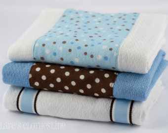Baby Burp Cloths - Blue and Brown Polka Dots Burp Cloth Set of 3 - READY TO SHIP