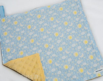 """Baby Lovey Blanket - Yellow and Blue Moons and Stars Lovey 15""""x15"""" - Ready to Ship"""