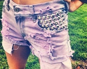 Acid Washed High Rise Studded Shorts in Purple