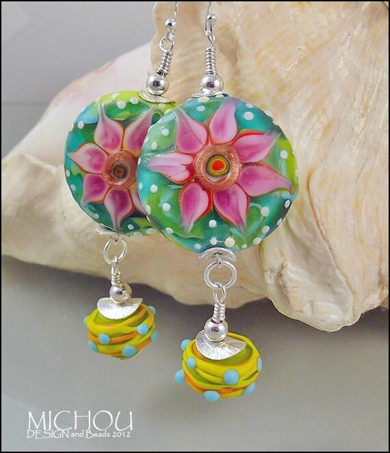 Cote d'Azur - Handmade lampwork Earrings by Michou