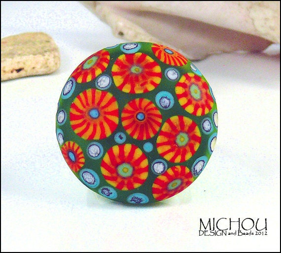 DANDELION - glass cabochon, ring topper in green, red and purple, by MICHOU