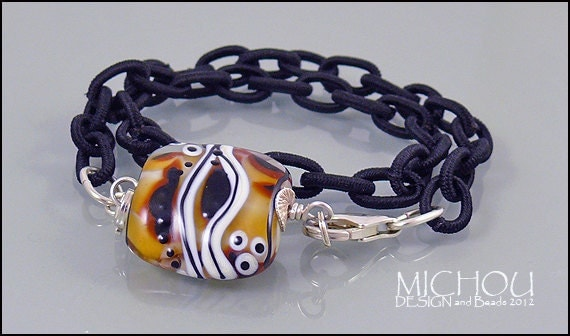 Africa - Lampwork Bracelet in cream/caramel and black on a satin fabric chain DESIGN and Beads by MICHOU
