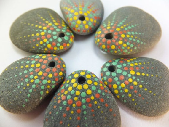 Painted Beach Pebble Beads - Salmon, Teal and Yellow Bursts