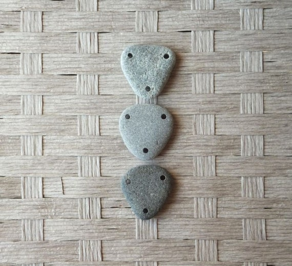 Triple Drilled Triangle Shaped Beach Pebble Beads