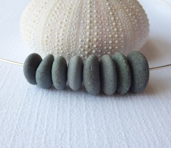 Center Drilled Beach Pebble Beads - Set of 8