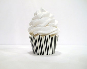 Black & White Striped Cupcake Wrappers - 12