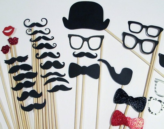 Photo Booth Props - 45 Piece Set - Photo Party Props On a Stick - Wedding / Birthday Photobooth
