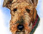 Airedale Terrier Dog Fine Art Print Giclee Signed by Deb Gardner - 8x10