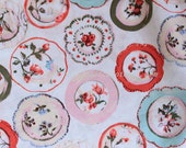 FL013- 1 Meter Cotton Fabric -Floral Hoop On Milky White- Rose, Daisy, Lily