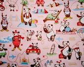 DW035C- 1 Yard Vinyl Waterproof Fabric - Lovely Panda On Holiday - Panda In The World, Skiing, Riding Bike, Samba, Beach, Diving- Pink