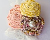 Peach Yellow Floral Rosette Cluster Hair Accessory or Brooch