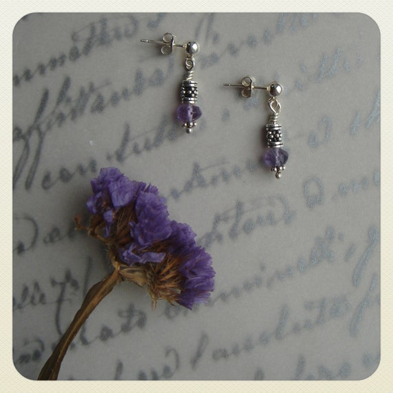 Crystalline Melodies: Translucent Amethyst Nugget and Bali Sterling Silver Post Earrings