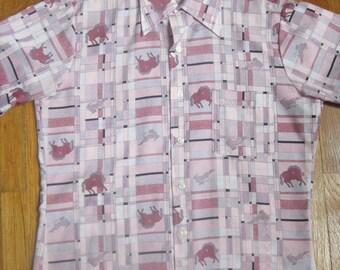 Mens Cowboy Western Wear Vintage Boyfriend Shirt 1950 1960s