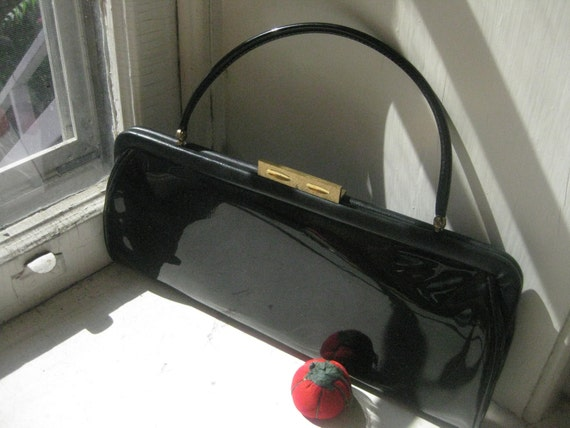 Clutch Handbag Black Patent Leather 1960's Made in France