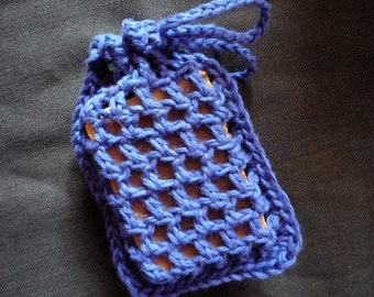 Crochet Soap Saver, blue