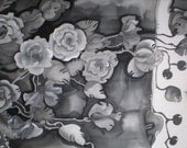 Black and white hand painted silk scarf  Roses. Monochromatic silk scarf. Made to order.