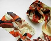 Hand painted autumn  silk scarf . Red, orange, black  stripes silk scarf. Ready to ship.