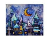 Night in the fairy-tale town. Natural silk panel, hand painted in the cold batik technique. Made to order. Free worldwide shipping.