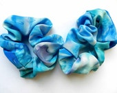 Hand painted pair of blue silk scunchie.Gift for her under 20.Free shipping.Ready to ship.