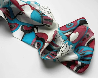 Blue and cherry hand painted silk scarf. Natural silk scarf. Made to order.