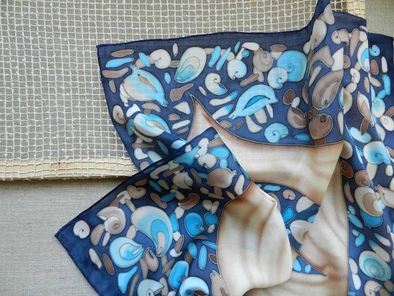 Hand painted silk scarf - Seashells. Made to order. Free shipping