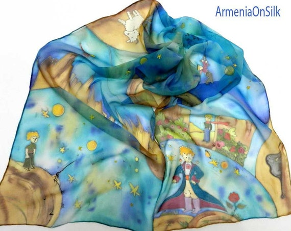 Hand painted silk scarf  Little Prince.  Book scarf. Book hand painted scarf. Ready to ship.