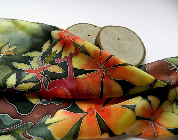 Rustic scarf. Green ,yellow, orange hand painted silk scarf. Summer time bright mood. Made to order.