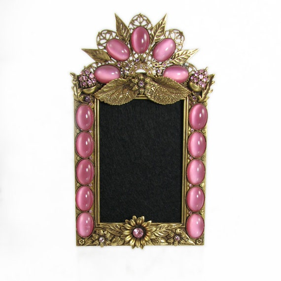 Sunflower Picture Frame gold and pink by Basia Zarzycka