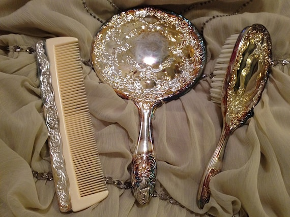 GORGEOUS Vintage Antique Silver Plated 3 Piece Vanity Set Matching ((RESERVED))