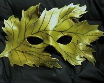 Green Oak Leaf handmade leather mask