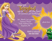 Tangled Rapunzel  Invitation Digital File 4X6 or 5X7