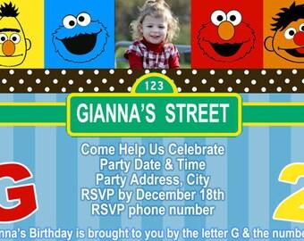 Sesame Street Invitation Digital File 4X6 or 5X7